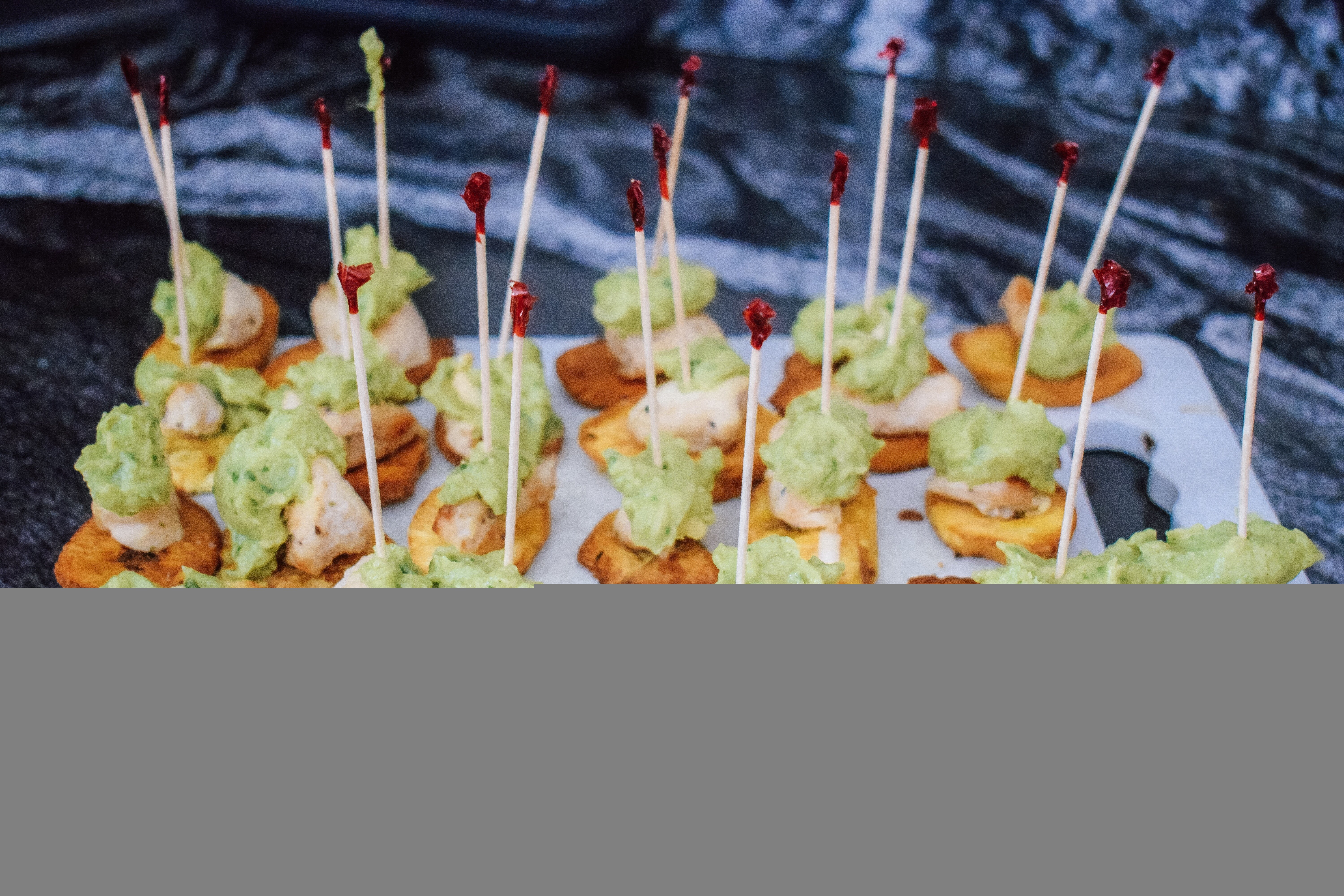 Simple and easy chicken and guacamole plantain bites
