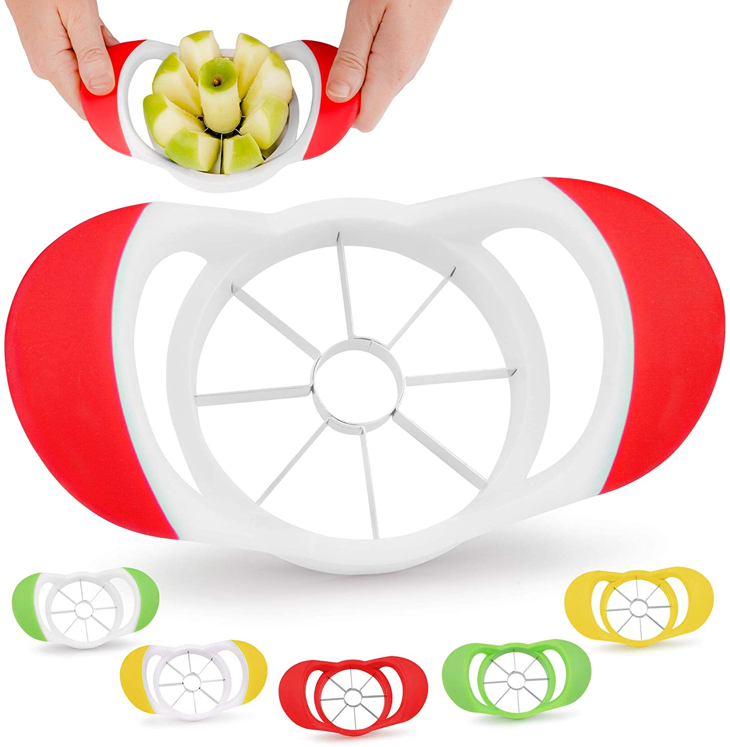 Zulay 8 Blade Apple Slicer - Easy Grip Apple Cutter With Stainless Steel Blades - Fast Usage Appl...