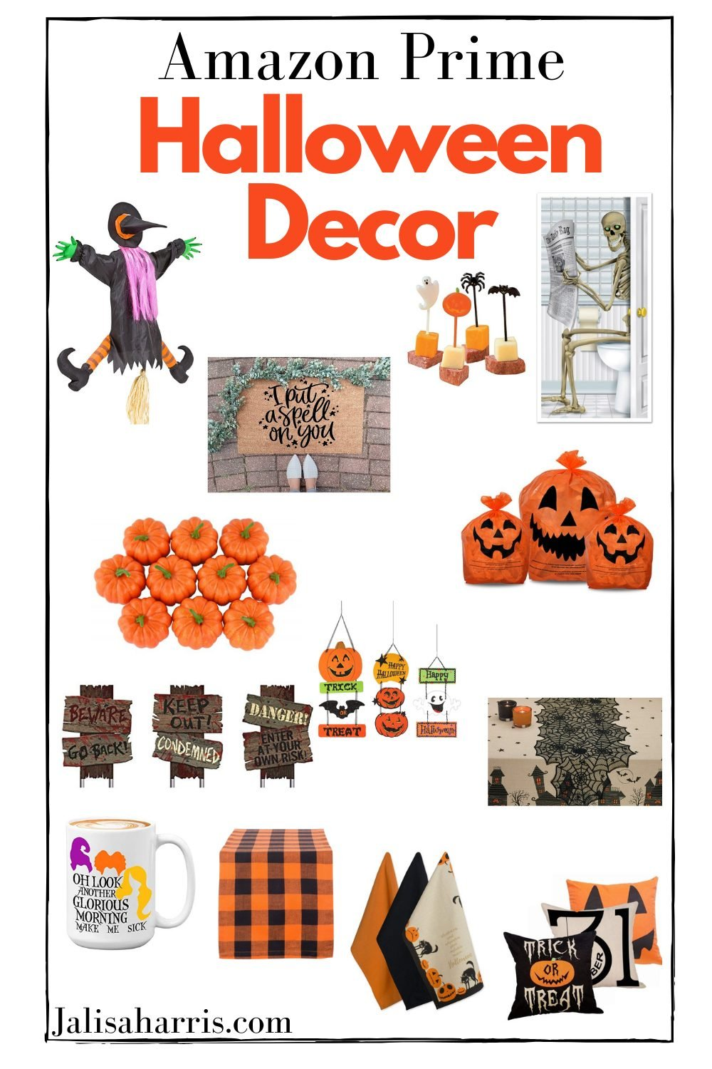 Happy Halloween month. It's the start of the holiday season which I must say I love. It's the second week into October and we've already bought A'scostumewhich indeed he loves.Who's ready for all that Halloween decor because I am. I rounded some great Amazon Prime Halloween decor that is super affordable and under $25. Plus with Amazon Prime will get to you these super quick. Just in case you are a late shopper.